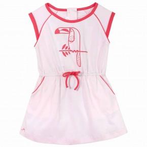 Robe rose avec imprimé toucan