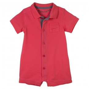 Baby Boy Coral Rompersuit