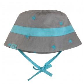Chapeau turquoise aux imprimés palmiers