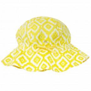 Chapeau jaune à imprimés losanges