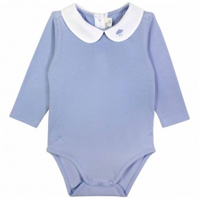 Blue Baby Boy Bodysuit with cloud embroidery