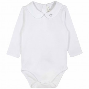 White Unisex Baby Bodysuit with cloud embroidery