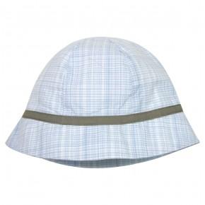 Chapeau bleu ciel à carreaux