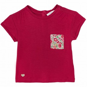 Girls Red Tees with Liberty print pocket