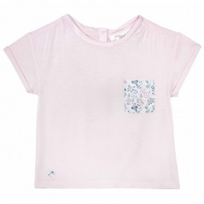 Girls Pink Tees with Liberty print pocket