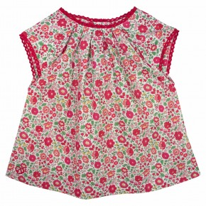 Girls Red Floral Liberty print Blouse