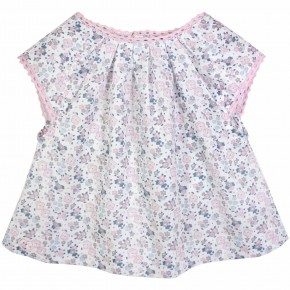 Girls Pink Floral Liberty print Blouse