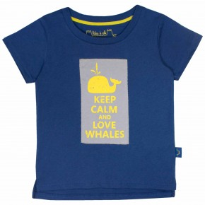 Boys Navy Tee Shirt with Whale Print
