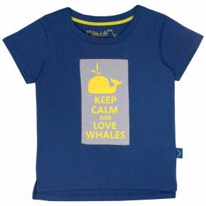T-shirt bleu marine imprimé Baleine