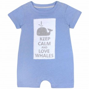 "Baby Boy Blue Rompersuit with ""Keep Calm and Love Whale"" print"