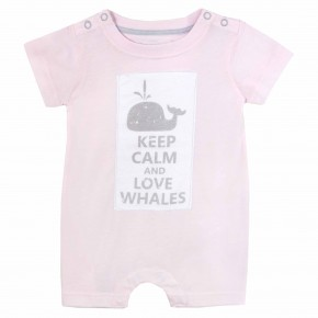 "baby girl pink rompersuit with ""Keep Calm and Love Whale"" print"