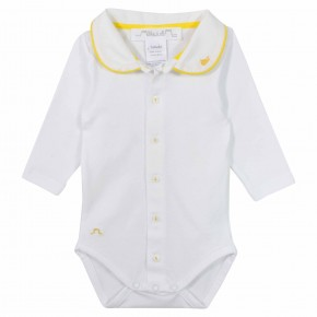 Unisex Baby Bodysuit with yellow whale embroidery