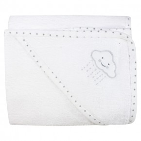 Unisex Baby Bath Towel with cloud embroidery