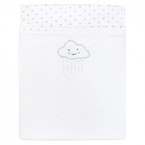 Unisex Baby Blanket with star prints and clouds embroidery.
