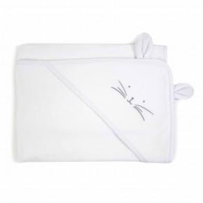 White Unisex Baby Towel with rabbit features