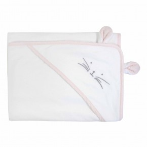 Pink Baby Girl Towel with rabbit features