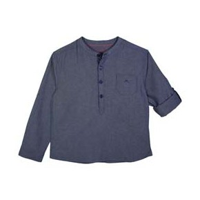 Boys Mao Collar Indigo Mandarin Collar Shirt