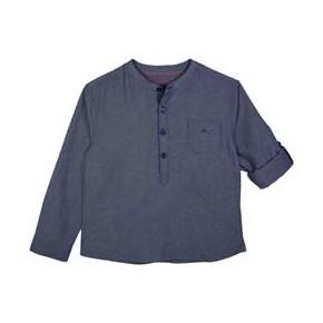 Boys Mao Collar Indigo Mandarin Collar Shirt