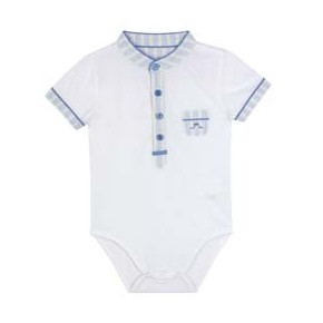 Baby Boy Bodysuit with stripes mao collar