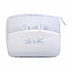 Blue Bath pouch with Rabbit Features