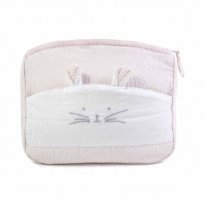 Pink Bath pouch with Rabbit Features