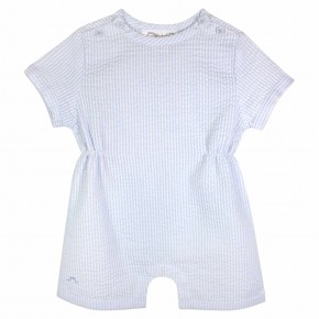 Blue Stripes Rompersuit Seersucker Cotton