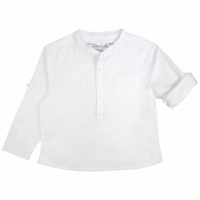 Boys Mao Collar White Mandarin Collar Shirt