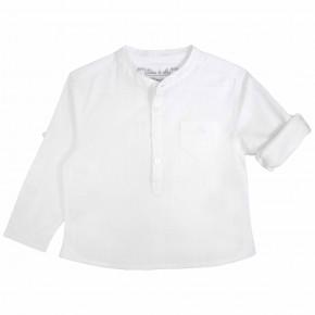 Boys Mao Collar White Mandarin Collar Shirt