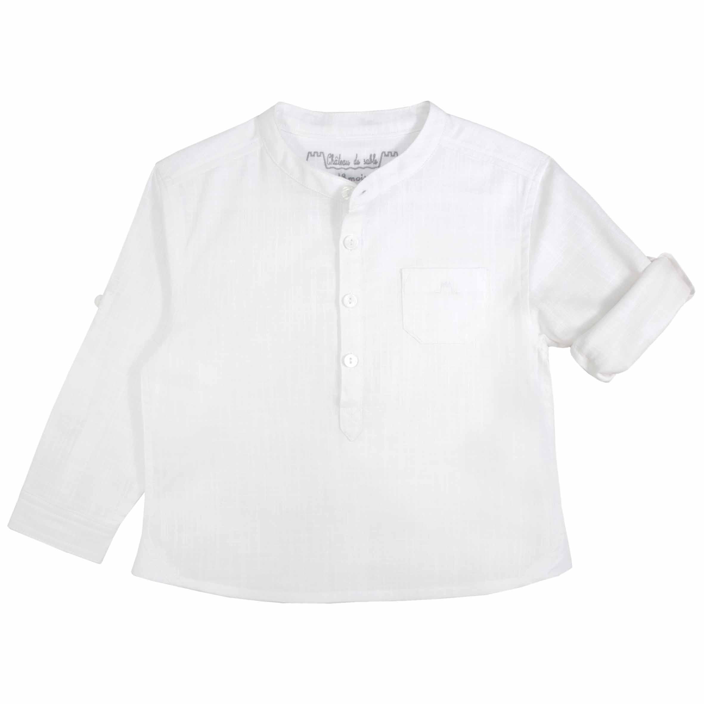 d424abac7 Boys Mao Collar White Mandarin Collar Shirt