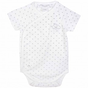 Star prints Unisex wrap short sleeves baby bodysuit