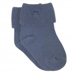 Blue Roll Cuff Socks