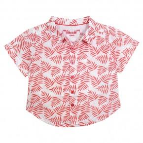 Chemise corail aux imprimés feuilles de palmier