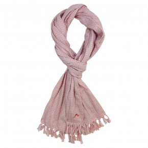 Boy Scarf with Coral Checks