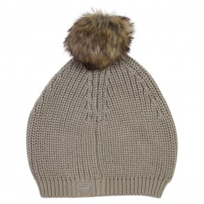 Girl Taupe Beanie with Fur Pom-pom