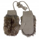 Girl Taupe Gloves with Faux Fur