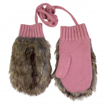 Girl Pink Gloves with Faux Fur