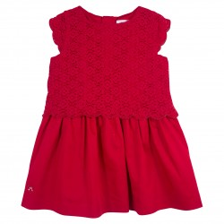 Girl Red Dress with Lace Details