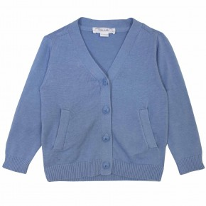 Basic Boy V Collar Blue Cardigan