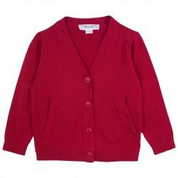 Basic Boy V Collar Red Cardigan