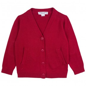 Basic Boy V Collar Red Cardigan