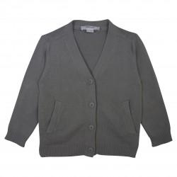 Basic Boy V Collar Grey Cardigan