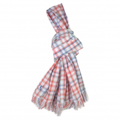 Scarf in Orange and Blue Checks