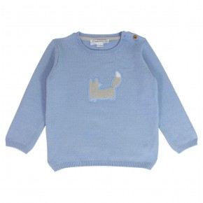 Boy  Blue Sweater with a Fox Embroidered