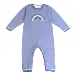 Baby Romper with A Rainbow in Blue