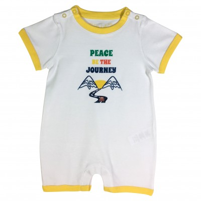 "Boy Romper with ""Peace be the journey"" Print"