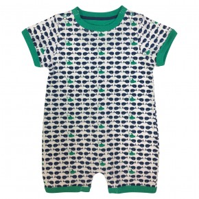 Baby rompersuit with fish and submarines prints