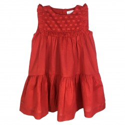 Red dress with ruffles and bust details