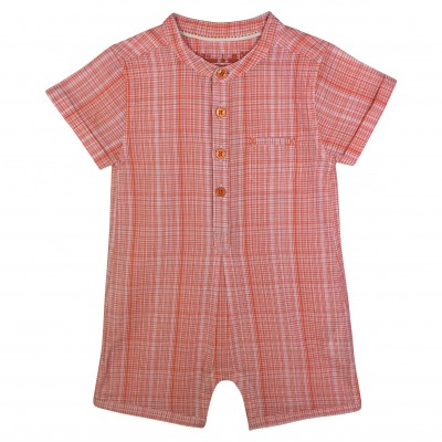 Baby rompersuit with orange checks