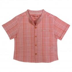Boy shirt with orange checks