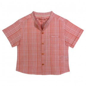 Boy shirt with orange checks